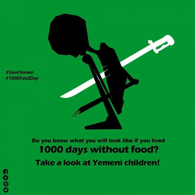 Cartoon: 1000 days of Saudi-led coalition war on oppressed Yemen